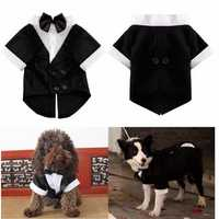 Pet Dog Cat Clothes Puppy Bow Tie Shirt Wedding Suit Clothes Tuxedo Costume Collared Shirt Jumpsuit