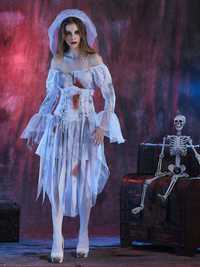 Halloween Women Off Shoulder Zombie Ghost Bride Costume Dress with Headwear