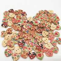 100 PCS Heart Shape Wooden Button Mixed 2 Hole Natural Sewing Children Handmade Clothes Buttons