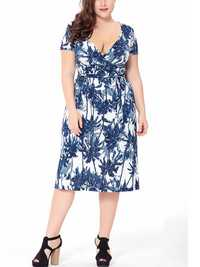 Plus Size Floral Print V-neck Short Sleeve Elegant Dress