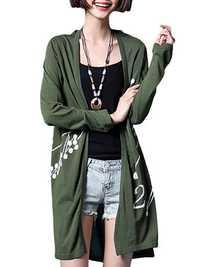 Casual Women Printing Long Sleeve Side Split Knitted Cardigan