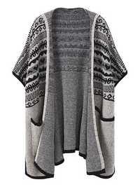 Women Jacquard Side Slit Pocket Knitting Hooded Cardigan