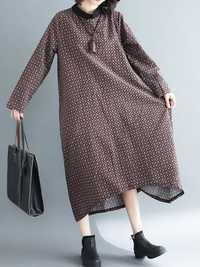 Vintage Printed Flat Collar Long Sleeve Loose Hem Dress