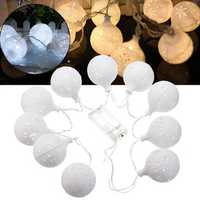 Battery Powered 1.2M 10LEDs Warm White Pure White Snowball Fairy String Light for Christmas Patio