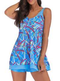 5XL Split Conservative Printing Swimdress