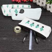 Brief Style Green Cactus Canvas Large Capacity Makeup Pouch Pencil Bag Organizer Case School Supply