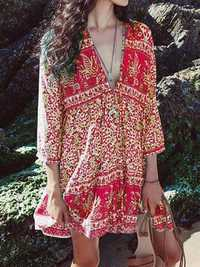 Women Bohemian Floral Print V-neck 3/4 Sleeve Dress
