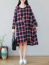 Women O-neck Long Sleeve Plaid High Low Loose Dress