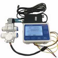 3/8 Flow Sensor+ZJ-LCD-M Flow Meter Controller + Soleniod Valve + Power Charger LCD Display for Water Liquid Measurement