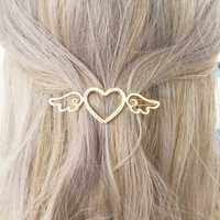 Sweet Hollow Heart Shape Wing Barrettes Hair Accessories