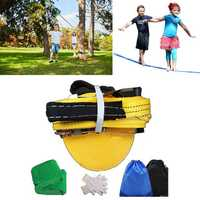 50ft Slackline Outdoor Extreme Sport Balance Trainer Slackline With Gloves Tree Protector And Bag