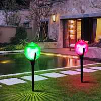 2pcs Solar Colorful Ball Stake Lamp Waterproof Outdoor Garden Path Lawn Landscape Light Decor