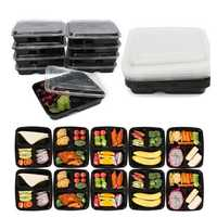 10Pcs Meal Prep Lunch Box 3 Compartment Plastic Reusable Kitchen Microwavable Food Storage Container