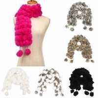 Women Ladies Pom Pom Faux Rabbit Fur ball Scarf Collar Soft Neck Wrap Shawl