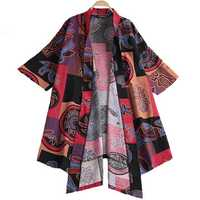 Mens Chinese Style Cotton Casual Floral Printing Cardigans