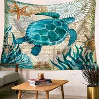 Retro Ocean Sea Animal Tapestry Mandala Hippie Wall Hanging Decor Bedspread