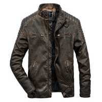 Mens Vintage Faux Leather Motorcycle Jacket PU Biker Jacket