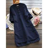 Gracila M-5XL Vintage Women Pure Color Buttons Shirt Dress