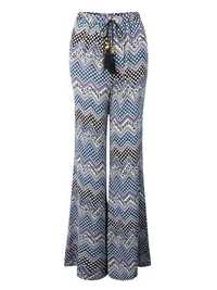 Casual Women Drawstring Printed Flare Wide Leg Bohemian Pants Trousers