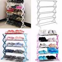 5 Tiers Stackable Stainless Steel Shoes Rack Stand Unit Display Shelf Save Storage Organizer Holders