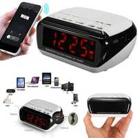 Bluetooth LED Wireless Speaker Mic LCD Alarm Clock TF FM Radio MP3 Music Player