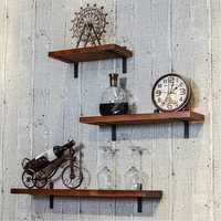 Retro Industrial Style Wooden Wall Floating shelf Storage Shelving Bookshelf Storage