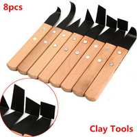 8Pcs Pottery Sculpture Clay Tool Knife Wooden Handle Modeling Tools