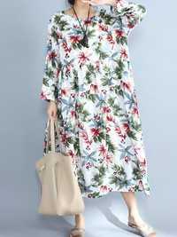 Vintage Floral Print O-Neck Long Sleeve Maxi Dress