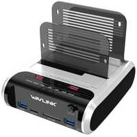 Wavlink USB3.0 to SATA Dual-Bay Hard Drive Enclosure Card Reader for 2.5/3.5
