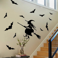 Creative Halloween Haunted House Glass Witch Wall Stickers Background Decoration Sticker Wall Art