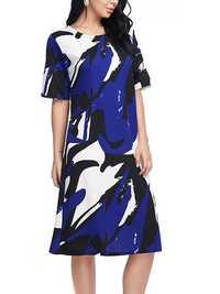 Women Loose O-neck Half Sleeve Summer Dress