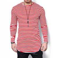 Stripes Printing Long Sleeve Slim Fit T-shirt