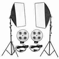 Photo Video Studio Lighting Kit 4-Socket E27 Lamp Holder Softbox Light Stands