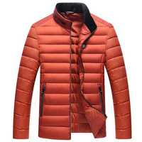 Mens Stand Collar Slim Cotton Down Winter Thick Warm Jacket