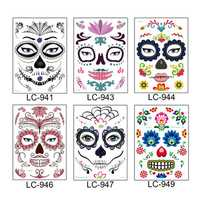 Halloween Cosplay Waterproof Temporary Skull Face Tattoo Sticker Makeup Dress Art Prop