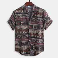 Mens Summer Floral Printing Cotton Casual Shirts