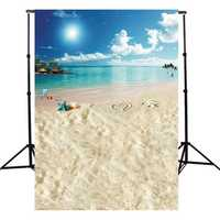 5x7FT Vinyl Summer Beach Heart Sea Vocation Photography Backdrop Background Studio Prop