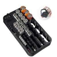 Battery Organizer with Battery Tester Storage Box Case for 72pcs AA AAA 9V AG CR C D Type Battery Holder