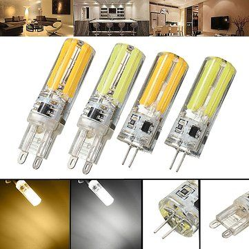 Dimmable G4 G9 5W Silicone Warm White Pure White LED COB Light Bulb Chandelier Lamp AC220V