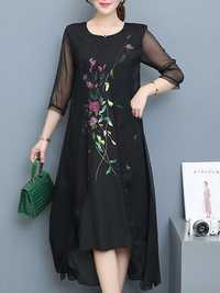 Vintage Floral Embroidery Fake Two Pieces Dress