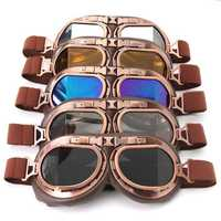 Vintage Pilot Helmet Steampunk Copper Motorcycle Scooter Helmet Glasses Goggles Anti UV