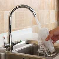 Chrome Modern Kitchen Sink Basin Faucet Twin Lever Rotation Spout Cold and Hot Water Mixer Tap