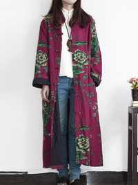 Plus Size Vintage Floral Print Frog Button Long Trench Coats