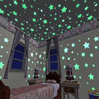 100pcs 3D Stars Glow In Dark Luminous Tape Fluorescent Plastic Wall Sticker Wall Decal Decorations