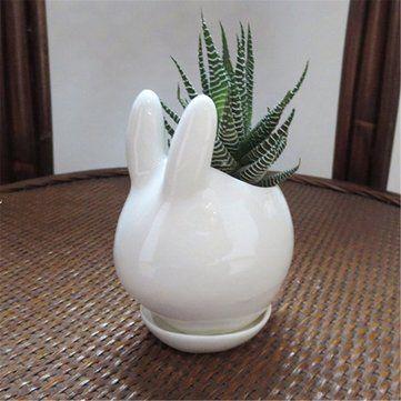 Mini Rabbit Ceramic Succulent Flower Pot Garden Porcelain Saucer Decor Planter