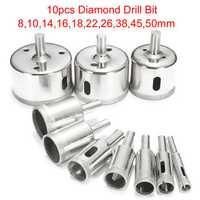 10pcs Diamond Hole Saw Set Tile Ceramic Glass Porcelain Marble 8mm-50mm Hole Saw Drill Bit