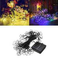Solar Powered 6M 30LEDs Polygons Iron Outdoor Fairy String Lights for Courtyard Christmas