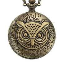 DEFFRUN XHB02 Owl Pattern Chain Quartz Pocket Watch