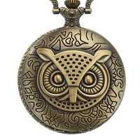 DEFFRUN XHB02 Owl Pattern Chain Quartz Pocket Watch