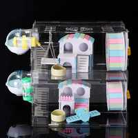 DIY Hamster Acrylic Sheet Cage Clear 2 Layer Mice Mouse Gerbil Castle Rat House Toys Bed
